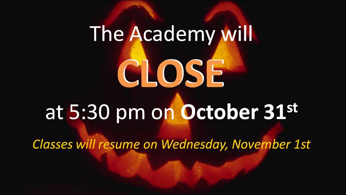 halloween early closing - suwanee academy of the arts