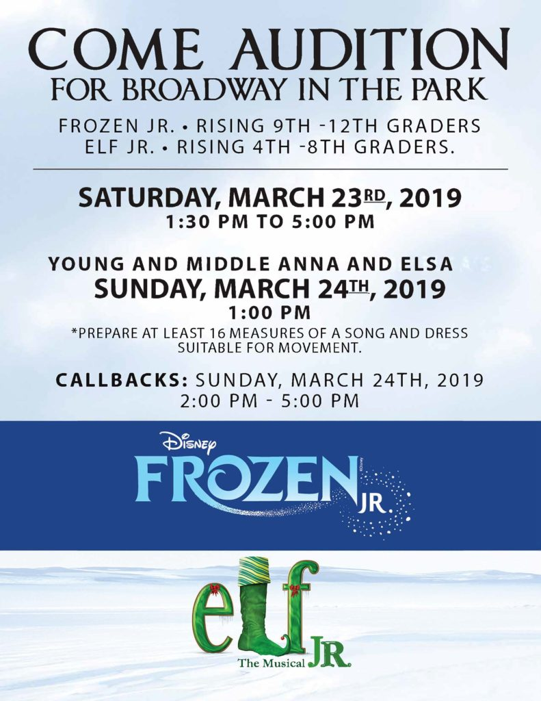 broadway theater musical stage audition frozen elf disney